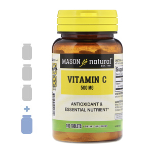 Vitamin C 500mg – MASON natural 3 bottles + 1FREE