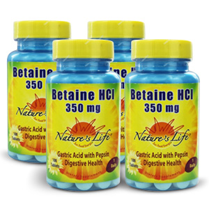 Nature's Life Betaine HCl 350mg – 4 bottles